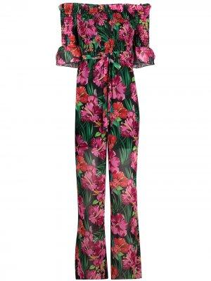 Комбинезон с открытыми плечами и цветочным принтом Patrizia Pepe. Цвет: розовый