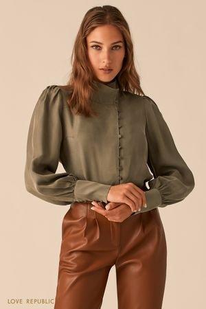 Блузка в викторианском стиле из купро цвета хаки LOVE REPUBLIC