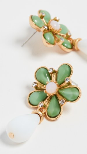 Floral Post Earrings with Drop Ben-Amun