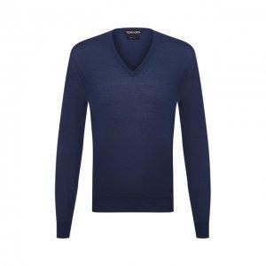 Пуловер из кашемира и шелка Tom Ford. Цвет: синий