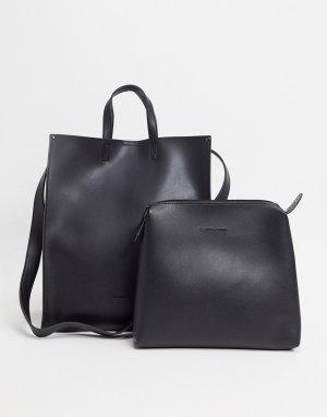 Большая черная сумка-тоут -Черный Claudia Canova