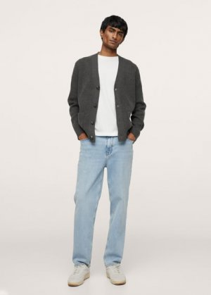 Кардиган с карманами - Parkb Mango. Цвет: угольно-серый