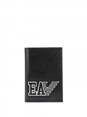 Обложка для паспорта с логотипом Emporio Armani. Цвет: черный