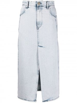 Джинсовая юбка миди с эффектом потертости IRO. Цвет: синий