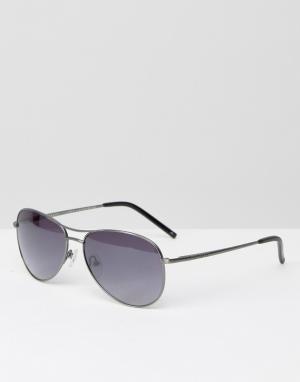 Солнцезащитные очки-авиаторы в серебристой оправе Ted Baker. Цвет: серебряный