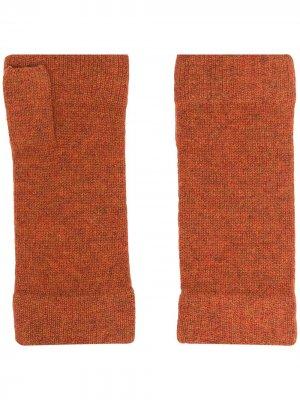 Кашемировые перчатки-митенки N.Peal. Цвет: оранжевый