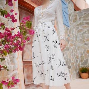 Миди-юбка с графическим принтом SHEIN. Цвет: белый