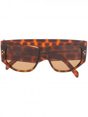 Массивные солнцезащитные очки с леопардовым принтом Celine Eyewear. Цвет: коричневый