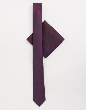 Галстук и платок для пиджака -Красный Harry Brown