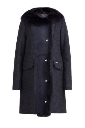Пальто из шерсти со вставкой кожи ягненка с меховой опушкой в тон WOOLRICH. Цвет: черный