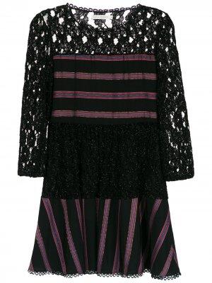 Кружевное короткое платье Martha Medeiros. Цвет: черный