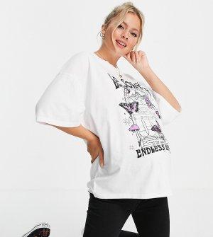 Белая свободная футболка с короткими рукавами и принтом Le Soleil -Белый Topshop Maternity