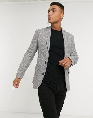Серый приталенный пиджак в клетку New Look