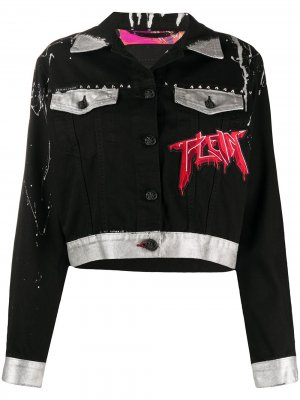 Джинсовая куртка с принтом Philipp Plein. Цвет: черный