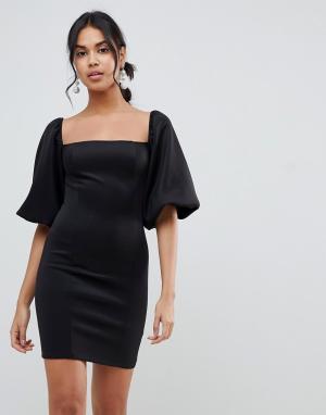Платье мини с пышными рукавами ASOS DESIGN
