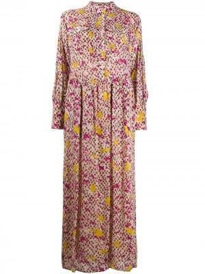 Платье-рубашка с цветочным принтом Lala Berlin. Цвет: розовый
