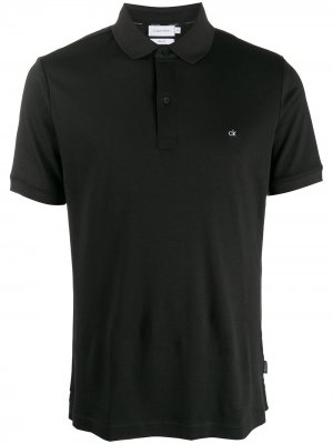 Рубашка-поло с вышитым логотипом Calvin Klein. Цвет: черный