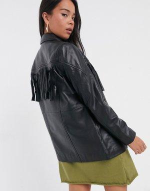 Черная кожаная куртка с бахромой в стиле вестерн -Черный цвет Muubaa