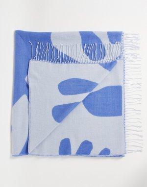 Голубое плетеное одеяло с абстрактным принтом -Разноцветный ASOS DESIGN