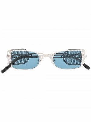 Солнцезащитные очки в прямоугольной оправе Matsuda. Цвет: серебристый
