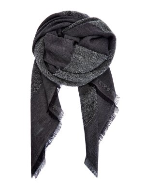 Шарф с интарсией из шерстяного драпа и модала LORENA ANTONIAZZI. Цвет: серый