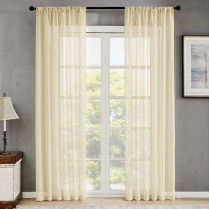 Простая прозрачная штора 1шт SHEIN. Цвет: бежевые