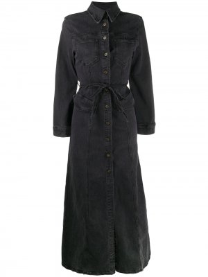 Джинсовое платье-рубашка длины макси Nanushka. Цвет: черный