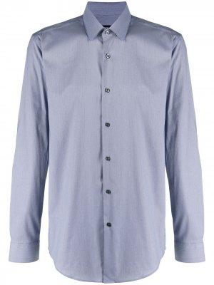 Рубашка с заостренным воротником и длинными рукавами BOSS. Цвет: синий