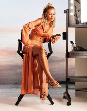 Бежевая пляжная юбка макси из тонкого трикотажа с разрезом от комплекта -Коричневый цвет ASOS DESIGN