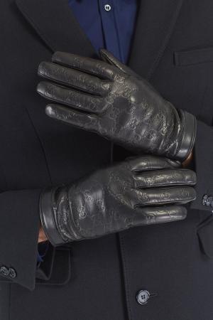 Перчатки с тисненым узором Gucci. Цвет: черный