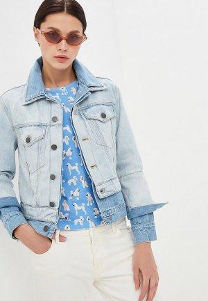 Куртка джинсовая Alice + Olivia. Цвет: голубой