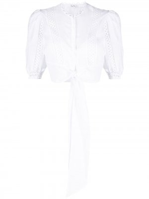 Укороченная блузка с английской вышивкой Charo Ruiz Ibiza. Цвет: белый