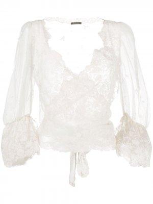 Lace wrap-around silk blouse Cruciani. Цвет: нейтральные цвета