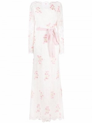 Вечернее платье Jezebel с вышивкой бисеро Parlor. Цвет: белый