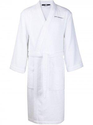 Халат с логотипом Karl Lagerfeld. Цвет: белый