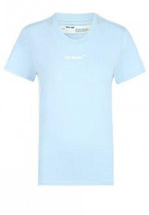 Футболка OFF-WHITE. Цвет: голубой