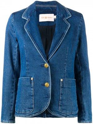 Однобортная джинсовая куртка Tory Burch. Цвет: синий