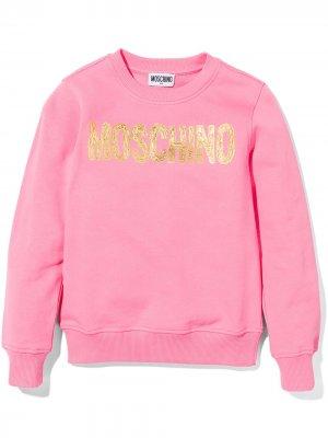 Толстовка с фактурным логотипом Moschino Kids. Цвет: розовый
