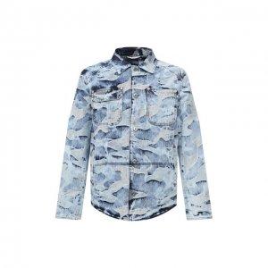 Джинсовая рубашка Valentino. Цвет: голубой