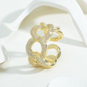 Открытое кольцо 14K позолоченный с цирконом в форме цепочки SHEIN. Цвет: золотистый