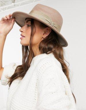 Фетровая шляпа серо-коричневого цвета регулируемого размера с широкой лентой -Коричневый ASOS DESIGN
