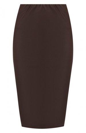 Кожаная юбка By Malene Birger. Цвет: коричневый
