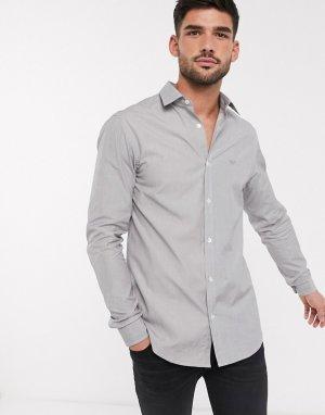 Серая рубашка с логотипом на груди -Серый Emporio Armani