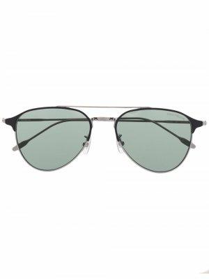 Солнцезащитные очки в круглой оправе Montblanc. Цвет: серебристый