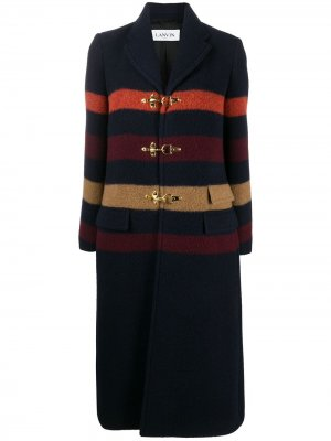 Полосатое пальто с пряжками LANVIN. Цвет: синий