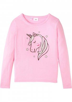 Вязаный пуловер из хлопка с единорогом bonprix. Цвет: розовый