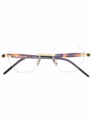 P54 geometric frame glasses Kuboraum. Цвет: коричневый