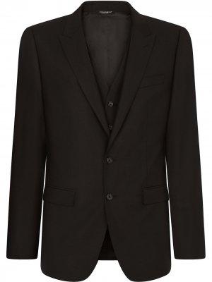 Костюм-тройка узкого кроя Dolce & Gabbana. Цвет: черный