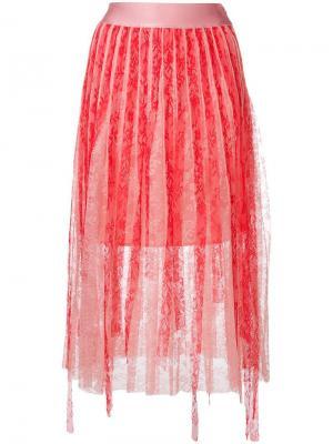 Кружевная плиссированная юбка Pinko. Цвет: розовый