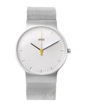 Наручные часы BRAUN. Цвет: серебристый